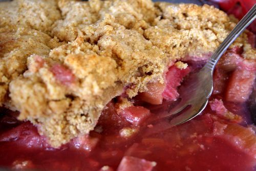 Rhubarb Cobbler. Something else we can make with our 8 rhubarb plants ...