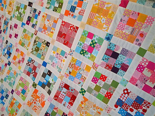scrap quilt, scrappy quilt, 16 patch