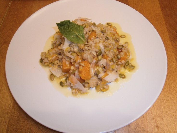 Butternut Squash and Leek Barley Risotto. Vegetarian Dinner.