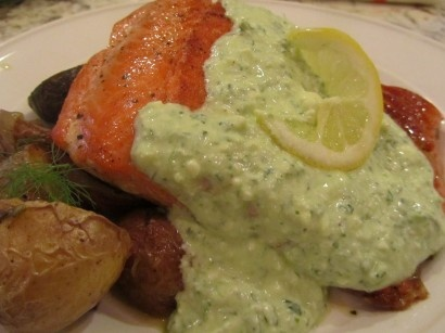 Salmon and Lemony Feta Sauce with Roasted Fennel and Potatoes | Tasty ...