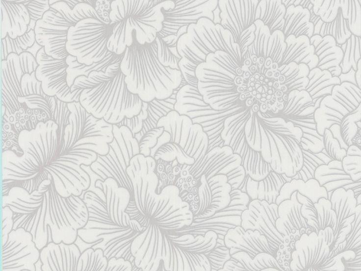 Silver and white | Flourish White & Silver Floral Wallpaper