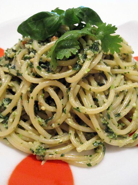 Vegan Basil & Cilantro Pesto Pasta | What can I make next? | Pinterest