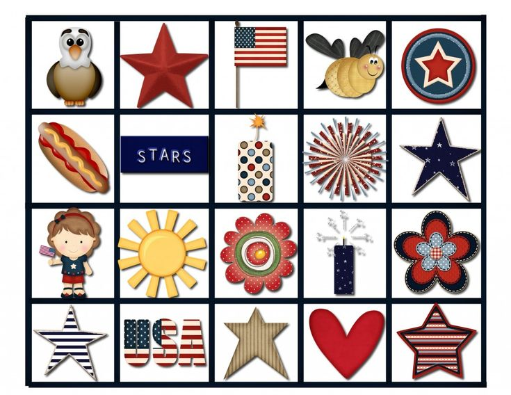 4th of july bingo cards