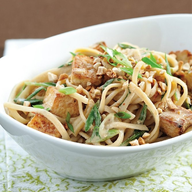 Sesame Noodles With Tofu, Scallions, and Cashews | Recipe