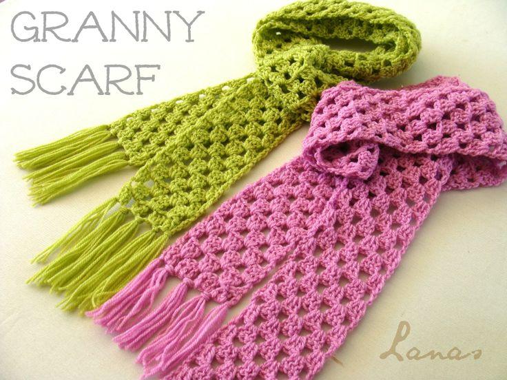 Free Crochet Granny Square Scarf Patterns : Lanas Hilos: SCARF + HAT