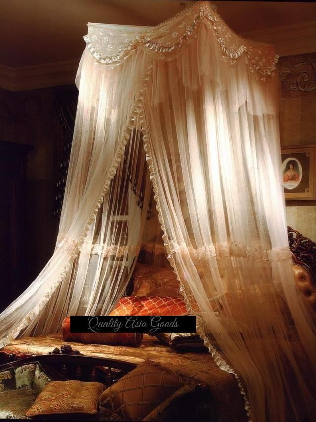 ELEGANT BED CANOPY MOSQUITO NET LIGHT-BEIGE Large Size