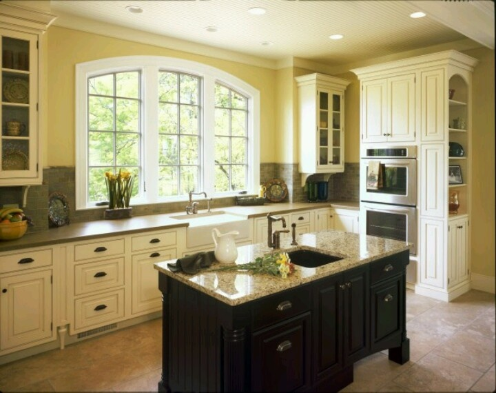 Different colored cabinets for the home pinterest for Different color kitchen cabinets
