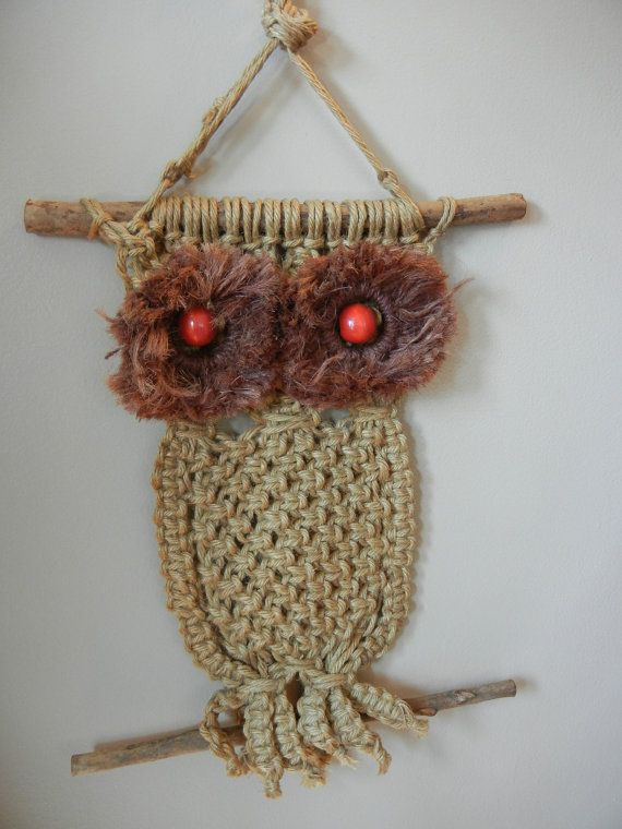 Macrame owl whooo didn t have one of these on their wall as a kid
