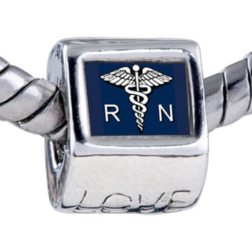 Registered nurse caduceus rn love beads fit pandora charms and