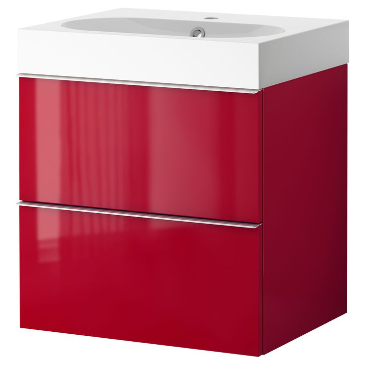GODMORGON/BR?VIKEN Sink cabinet with 2 drawers - high gloss red ...