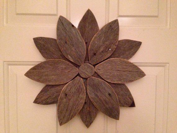 Wood Flower Wall Decor : Wall flower reclaimed wood wreath decor table