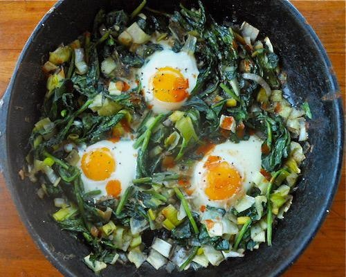 Wilted Spinach with Baked Eggs: A vibrant veggie alternative to ...