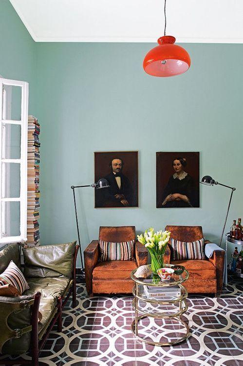 Blue gray wall moroccan tile floor living room pinterest