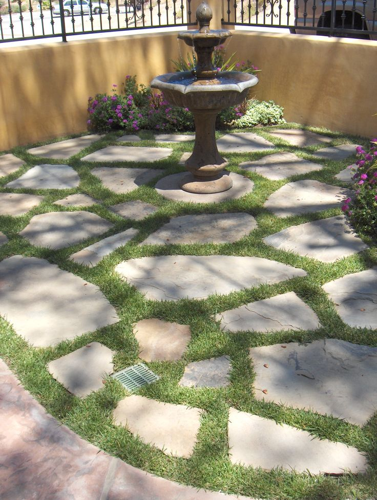 Patio Designs Pavers Grass : Stone and grass outside