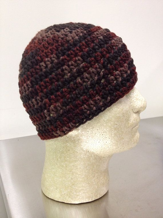 Crochet Skull Cap : Autumn Camo Crochet Beanie Skull Cap by just4tdyCrochet on Etsy