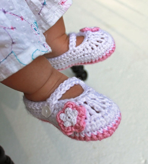 Crocheted Mary Jane Baby Booties in White and Pink, Baby ...
