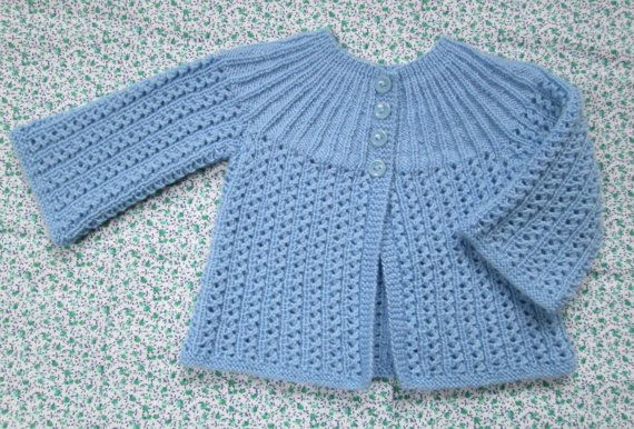 Luxury Baby Girl Sweater Hand Knit Merino Wool From a Vintage Pattern
