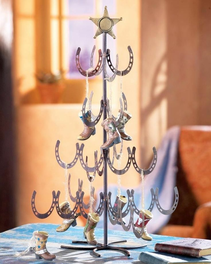 Country western themed miniature horseshoe christmas tree for Christmas tree made out of horseshoes