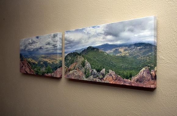 Split your panoramic landscape photo onto two canvases