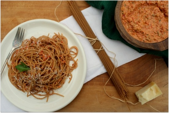 "... !!! Roasted Red Pepper and Walnut ""Pesto"" {the Food Matters pro..."