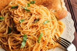 Roasted Red Pepper Pesto Pasta » Table for Two
