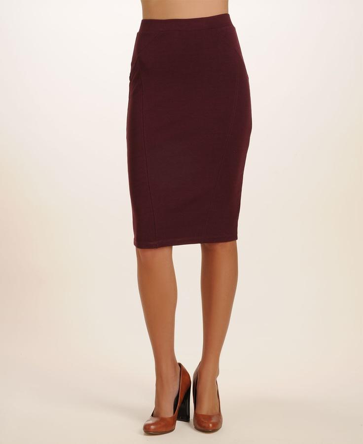 mid length burgundy pencil skirt fashion
