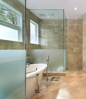 Glass Shower With Free Standing Tub Home Pinterest