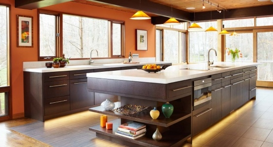 Contemporary Galley Style Burnt Orange kitchen, walnut cabinets, $
