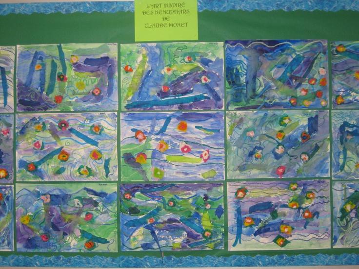 Monet's lilies tissue paper, oil pastels, watercolour paint