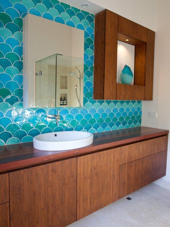 Fish scale tile bathroom house to home for Fish scale tiles bathroom