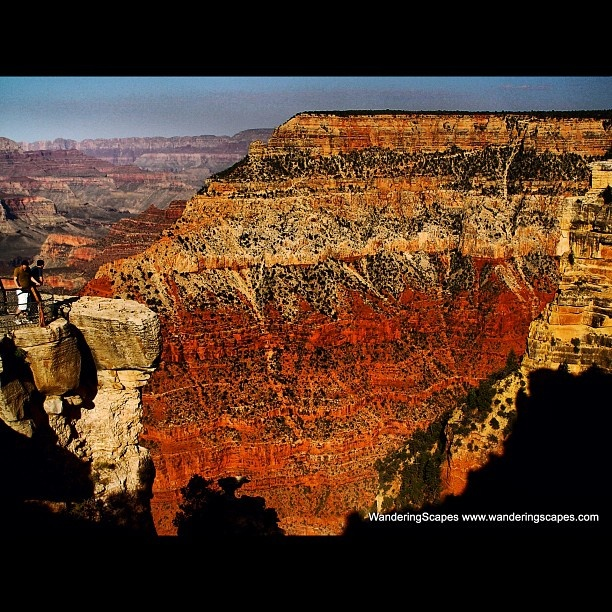 Overlooking the mighty and amazing Grand Canyon from the south rim in Arizona