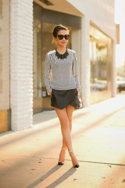 Fashionable Stiped Shirt with Short Black Skirt Looks Glorious with Handbag and Sunglasses