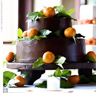two-tier chocolate cake with orange and Grand Marnier filling ...