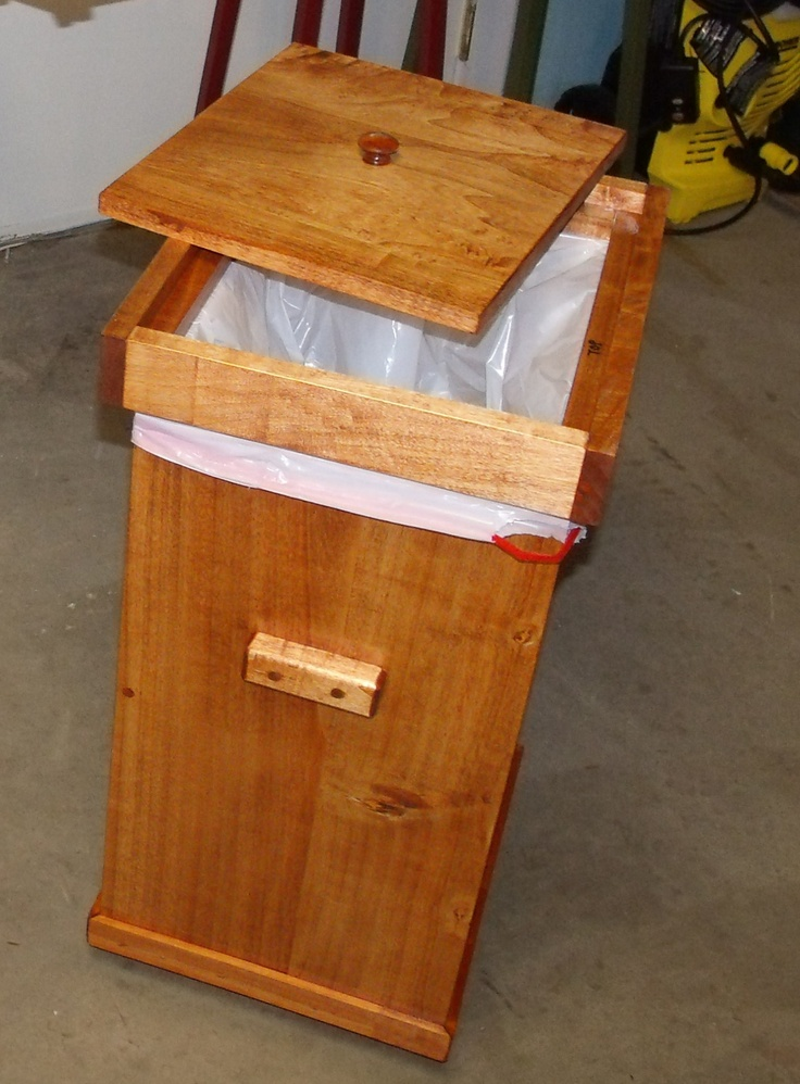 Kitchen garbage can with lid wood projects pinterest - Wooden kitchen trash can with lid ...