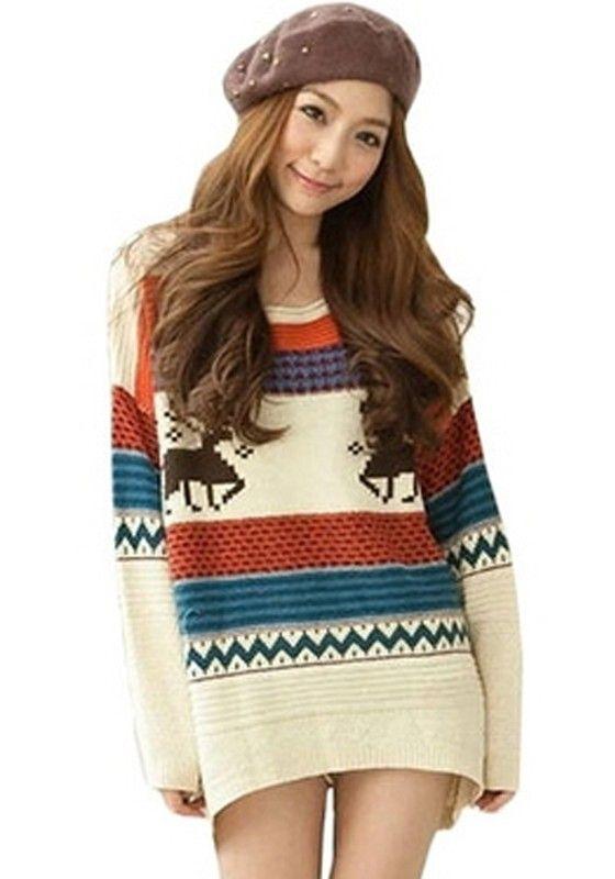 Beige Deer Print Loose Pullover