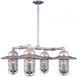 "Industrial 4 Light Chandelier ""The Bottom Line"" via Barn Light Electric, $819"