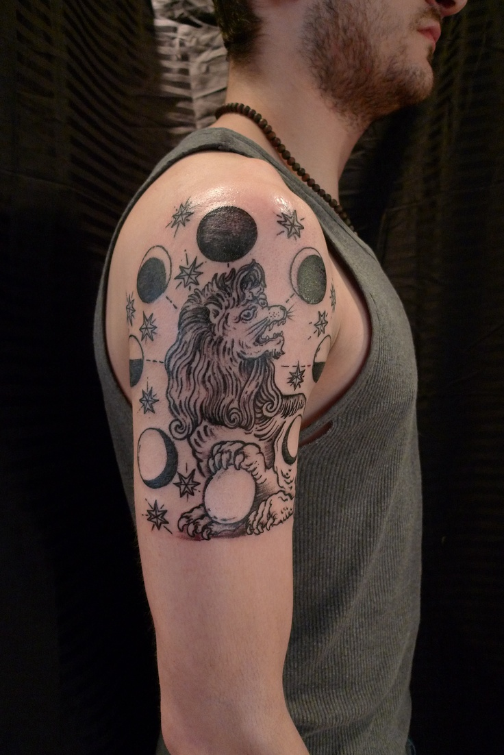 Moon Phases Tattoo Pinterest Woodcut- lion - moon cycle