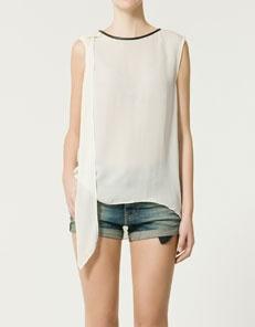 Zara Leather Trim Blouse 87