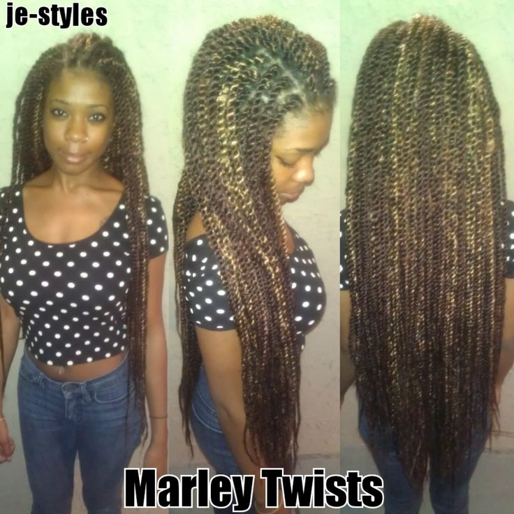 Long Marley Twists with Color