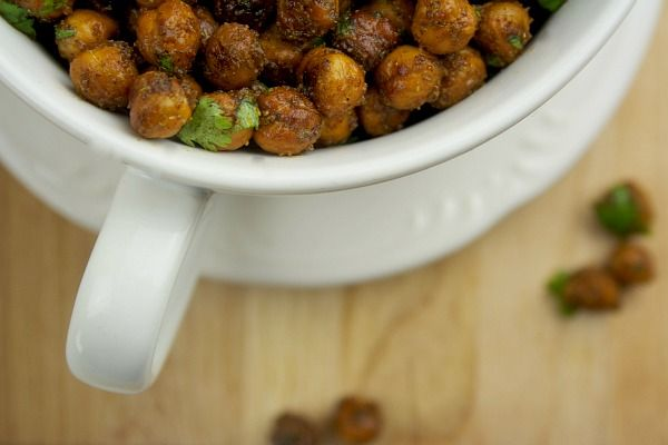 roasted chickpeas with cilantro, lime, and spices. Thinking about ...