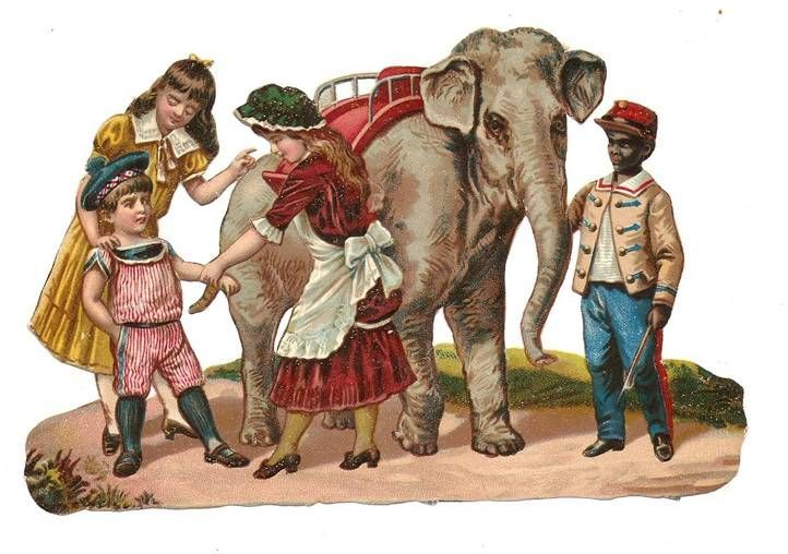 Victorian Die Cut  Elephant Children Sailor Boy Girls Dress Scrap