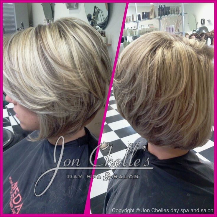 Full foil highlights and lowlights. Short, stacked asymmetrical bob by ...