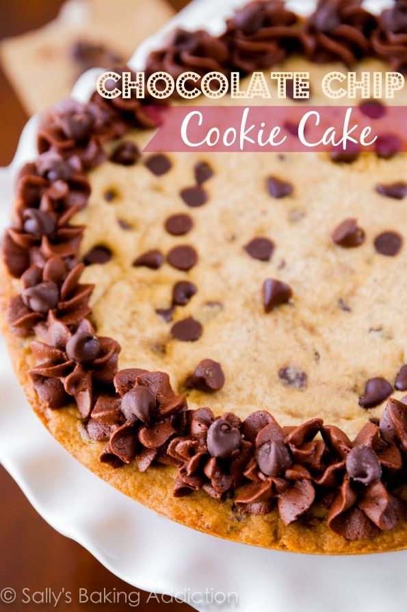 Soft, thick, and ultra chewy Chocolate Chip Cookie Cake! No dough ...