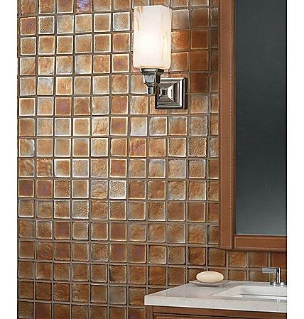 iridescent glass tile backsplash bathroom remodel