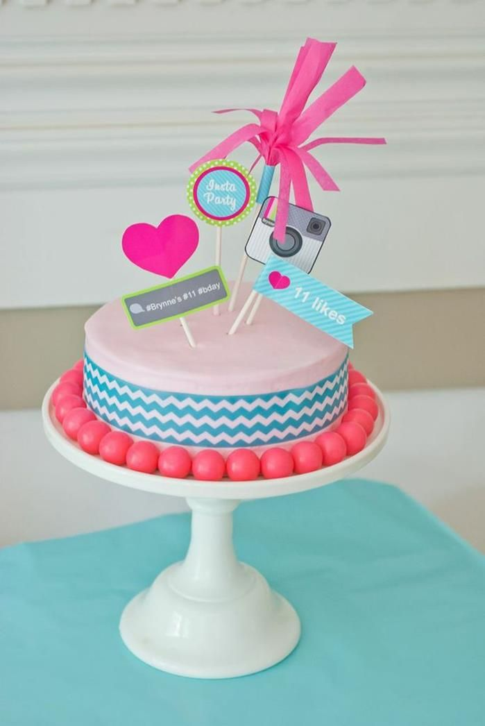 Cake at an Instagram Inspired / themed Party via Kara's Party Ideas | Kara'sPartyIdeas.com #SocialMedia #PartyIdeas #TweenParty #Supplies #instagram #instagrampartyideas #teenpartyideas #cake