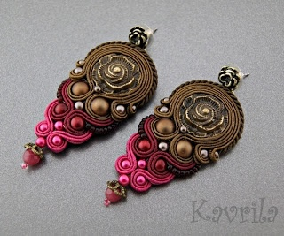 K Avril - Jewellery author. soutache. Sazava Brown Earrings. length 7.5cm