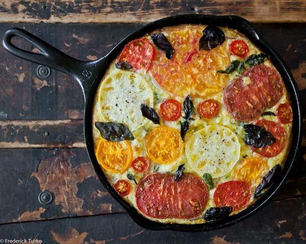 heirloom tomato & basil frittata. | Party Ideas | Pinterest