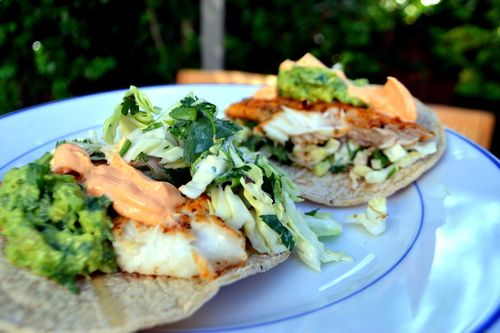 Grilled Fish Tacos with Guac, Spicy Mayo, and Cilantro Cabbage Slaw
