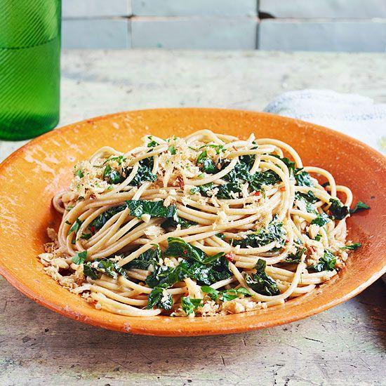 Aglio e Olio with Farro Spaghetti, Kale & Hazelnut Breadcrumbs