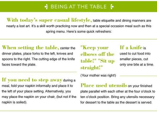 Table etiquette and dining manners food Pinterest : 2be942550400850ec10ab63c85a683b4 from pinterest.com size 599 x 433 jpeg 105kB